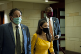 Alexandria Ocasio-Cortez Photo - United States Representative Alexandria Ocasio-Cortez (Democrat of New York) makes her way to a classified briefing on election security for members of Congress at the US Capitol in Washington DC Friday July 31 2020 Credit Rod Lamkey  CNPAdMedia