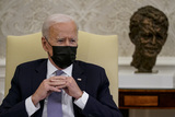 The White Photo - United States President Joe Biden meets with a bipartisan group of Members of Congress to discuss the American Jobs Plan in the Oval Office of the White House in Washington on Monday April 12 2021 Credit Amr Alfiky  Pool via CNPAdMedia