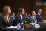 Monika Bickert Photo - From left to right Monika Bickert Head of Global Policy Management Facebook Nick Pickles Public Policy Director Twitter Derek Slater Global Director of Information Policy Google and George Selim Senior Vice President of Programs Anti-Defamation League testify before the United States Senate Committee on Commerce Science and Transportation on Mass Violence Extremism and Digital Responsibility on Capitol Hill in Washington DC on Wednesday September 18 2019 Photo Credit Ron SachsCNPAdMedia