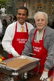 Antonio Villaraigosa Photo - Antonio Villaraigosa and Kirk Douglasat the Los Angeles Missions Thanksgiving Meal Skid Row Los Angeles CA 11-23-05