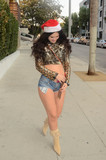 Allstar Weekend Photo - Natasha Blasickthe Ukranian Actress who appears in the upcoming Jamie Foxx film All-Star Weekend is spotted shoipping in a Santa Hat and tiny shorts which have a candy-can holster Hollywood CA 12-17-17