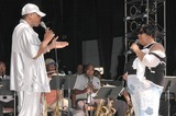 Ali (Ollie) Woodson Photo - Ali Ollie Woodson and Aretha Franklin at the sound check rehearsal for Arethas concert at the Greek Theatre Los Angeles CA 09-17-04