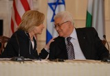 Mahmoud Abbas Photo - Washington DC 9022010RESTRICTED NEW YORKNEW JERSEY OUTNO NEW YORK OR NEW JERSEY NEWSPAPERS WITHIN A 75  MILE RADIUSSecretary Clinton hosts Abbas and Netanyahu peace talksSecretary of State Hillary Clinton hosts the re-launch of direct negotiations between Israeli Prime Minister Benjamin Netanyahu and Palestinian Authority President Mahmoud Abbas at the US State Department Secretary Clinton shakes hands with Abbas after marking the start of the negotiations by making opening remarks to the mediaDigital photo by Elisa Miller-PHOTOlinknet