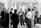 Janet Reno Photo - Washington DC - (FILE) -- United States President Bill Clinton meets with Attorney General Janet Reno in the Oval Office of the White House in Washington DC on Thursday June 24 1993  White House Counsel Vince Foster far left is whispering into the ear of fellow counsel Bernard Nussbaum  Press Secretary Dee Dee Myers is at the immediate right of The PresidentCredit White House via CNP