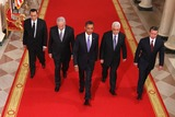 ABBA Photo - RESTRICTED NEW YORKNEW JERSEY OUTNO NEW YORK OR NEW JERSEY NEWSPAPERS WITHIN A 75 MILE RADIUS OF NYC(L-R) Egyptian President Hosni Mubarak Israeli Prime Minister Benjamin Netanyahu US President Barack Obama Palestinian Authority President Mahmoud Abbas and King Abdullah II of Jordan walk toward the East Room of the White House for statements on the first day of the Middle East peace talks September 1 2010 in Washington DC The White House has kicked off a new round of direct peace talks for the Middle East the first one in more than 18 months  Photo by Alex WongsPoolCNP-PHOTOlinknet