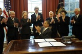 Robert gates Photo - United States President Barack Obama signs the New START Treaty during a ceremony in the Oval Office of the White House with from left US Secretary of Energy Steven Chu US Secretary of Defense Robert Gates US Secretary of State Hillary Rodham Clinton US Senator John Kerry (Democrat of Massachusetts) US Senator Richard Lugar (Republican of Indiana) US Senator Dianne Feinstein (Democrat of California) US Senator Thad Cochran (Republican of Mississippi) Photo by Leslie E Kossoff  PoolCNP-PHOTOlinknet