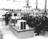 President Kennedy Photo - Doctor George Mueller gives Saturn V orientation to United States President John F Kennedy and officals in Blockhouse 37 at Cape Canaveral Florida Front row left to right George Low Doctor Kurt Debus Doctor Robert Seamans James Webb President Kennedy Doctor Hugh Dryden Doctor Wernher von Braun General Leighten Davis and  United States Senator George Smathers (Democrat of Florida) Photo by NASACNP-PHOTOlinknet
