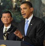 Eric Shinseki Photo - Washington DC - December 21 2009 -- United States President Barack Obama makes a statement on the SAVE (Securing Americans Value and Efficiency)  program in the Diplomatic Reception Room of the White House in Washington on December 21 2009 The award is given to Federal employees whose submit ideas for saving the government money  With him is Secretary of Veterans Affairs (VA) General Eric Shinseki The President also applauded the Senates vote to end a Republican filibuster aimed at blocking health care reform  Photo by Roger WallenbergPooL-CNP-PHOTOlinknet