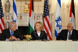 Benjamin Netanyahu Photo - Washington DC 9022010RESTRICTED NEW YORKNEW JERSEY OUTNO NEW YORK OR NEW JERSEY NEWSPAPERS WITHIN A 75  MILE RADIUSSecretary Clinton hosts Abbas and Netanyahu peace talksSecretary of State Hillary Clinton hosts the re-launch of direct negotiations between Israeli Prime Minister Benjamin Netanyahu and Palestinian Authority President Mahmoud Abbas at the US State Department (center) Secretary Clinton (left) Netanyahu and (right) Abbas start with opening remarks to the media to mark the start of the negotiationsDigital photo by Elisa Miller-PHOTOlinknet