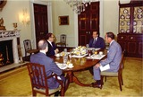 Henry A Kissinger Photo - Washington DC - May 31 1974 -- United States President Richard M Nixon sits down to a meal with his national security staff in the White House in Washington DC on May 31 1974 Pictured from left to right Major General Brent Scowcroft United States Air Force Deputy Assistant to the President for National Security Affairs United States Secretary of State Henry A Kissinger who also holds the title of Assistant to the President  for National Security Affairs President Nixon and General Alexander M Haig Jr United States Army Assistant to the President (Chief of Staff)Credit White House via CNPPHOTOlinknet