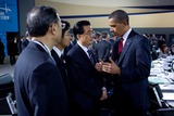 Hu Jintao Photo - Pittsburgh PA - September 25 2009 -- United States President Barack Obama talks with President Hu Jintao of China during the morning plenary session of the G-20 Pittsburgh Summit at the David L Lawrence Convention CenterMANDATORY CREDIT Pete SouzaWhite House-CNP-PHOTOlinknet