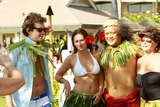 Alex Beh Photo - EXCLUSIVE Actress Jennifer Love Hewitt 31 beams in the Hawaiian sunlight as she and boyfriend of six months Alex Beh 27 hug and enjoy the afternoon on New Years Day in what appeared to be a gathering of friends and family including her mom Pat at their hotel Showing off her natural curves Jennifer looked lovely in a white bikini and traditional hula skirt made of leaves Maui HI 010111Fees must be agreed prior to publication