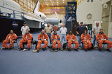 Kalpana Chawla Photo - FILE PHOTO (18 September 2001) --- The seven STS-107 crew members wait for a training and photo session to begin in the Space Vehicle Mockup Facility at the Johnson Space Center (JSC) From the left are Ilan Ramon payload specialist William C McCool pilot along with David M Brown and Kalpana Chawla both mission specialists Michael P Anderson payload commander Laurel B Clark mission specialist and Rick D Husband mission commander The crew members were assisted by United Space Alliance (USA) suit technicians (standing from left) Mike Thompson Steve Clendenin Daniel Palmer Tommy McDonald and Lloyd Armintor Ramon represents the Israeli Space Agency Supplied by NASANY Photo Press       NY Photo Press    phone (646) 267-6913     e-mail infocopyrightnyphotopresscom