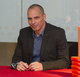 Yanis Varoufakis Photo - LondonUK  Former Greek finance minister and economist  Yanis Varoufakis signs copies his new book And The Weak Must Suffer What They Must at Foyles bookshop 5th April 2016 Ref LMK386-60201-060416Gary MitchellLandmark Media WWWLMKMEDIACOM