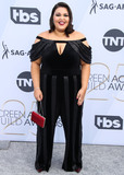 Calvin Klein Photo - LOS ANGELES CA USA - JANUARY 27 Actress Britney Young wearing a Tadashi Shoji jumpsuit Calvin Klein shoes a Judith Leiber clutch and Hearts on Fire jewelry arrives at the 25th Annual Screen Actors Guild Awards held at The Shrine Auditorium on January 27 2019 in Los Angeles California United States (Photo by Xavier CollinImage Press Agency)