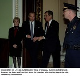Joe Biden Photo - Washington DC 01141999 Impeachment Trial of William Clinton in the Senate Senators Joe Biden and Trent Lott Leave the Chamber After the First Day of the Trial Photo by James KellyGlobe Photos Inc