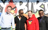 Angry Birds Photo - Niklas Hed Jamie Foxx Peter Vesterbacka George Lopez Actors and Creators of Angry Birds Game Rio Angry Birds Game Launch Century City Los Angeles 01-28-2011 photo by Graham Whitby Boot-allstar - Globe Photos Inc -Globe Photos  2010