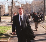 Charles Schwarz Photo - 2698_brooklyn Ny_70 Pct Cops Free on Bond at Bklyn Federal Court Where They Were Indicted on Civil Rights Charges Charles Schwarz Hurrys From Courthouse(photoneil Schneider) Credit Neil SchneiderGlobe Photos Inc