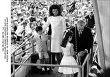 JFK Jr Photo - John  Caroline Kennedy W Mom Jackie at Jfk Aircraft Carrier Dedication PtGlobe Photos Inc